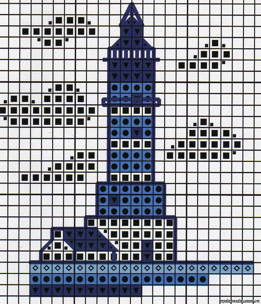 Вышивка маяка монохром