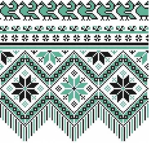 львівський рушник (зелений) - Схеми - Рушники - Галерея схем - Спілкування  за вишивкою 376aa0570b1f8